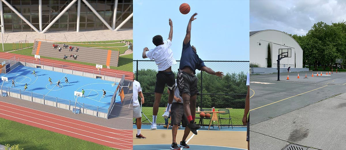 Photo montage showing basketball activities.