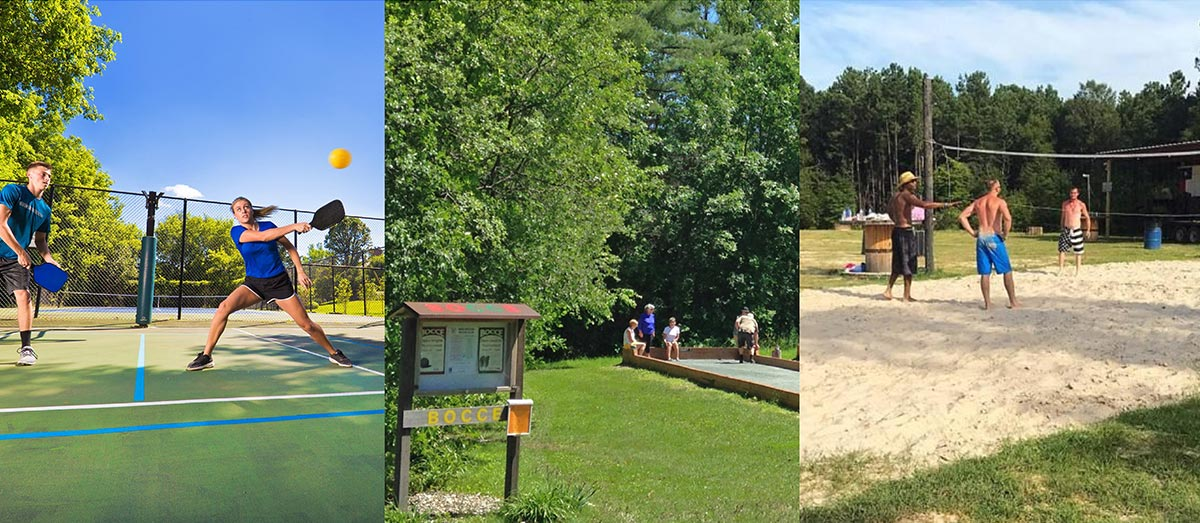 Photo montage showing pickleball, lawn games and volleyball activities.