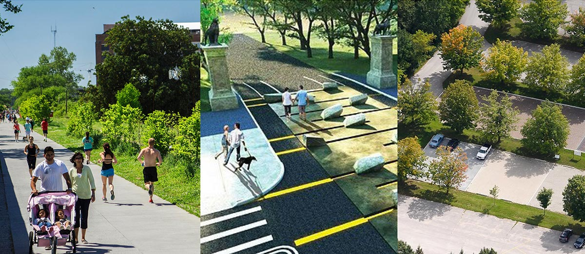 Photo montage showing examples of clear pathways and empty parking.