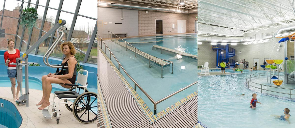 Photo montage showing examples of accessible pool designs.