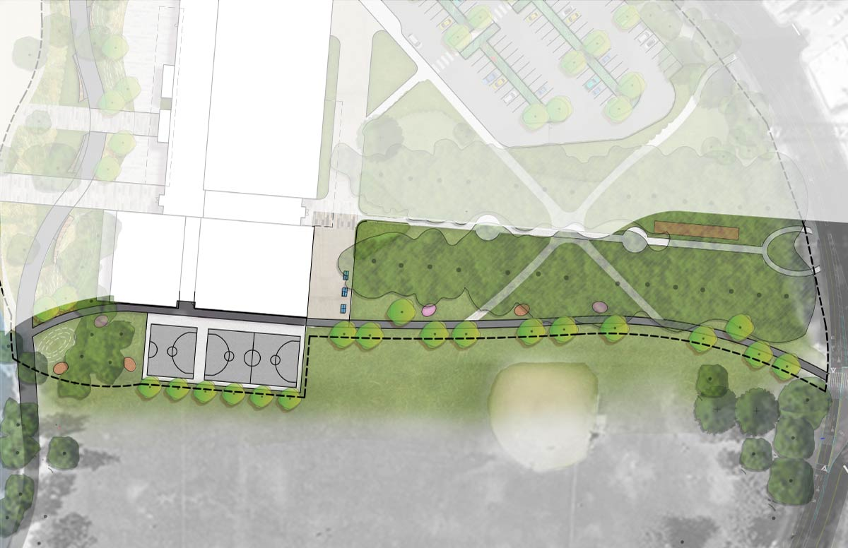 Schematic design showing outdoor courts and fitness equipment on the south side of the building.