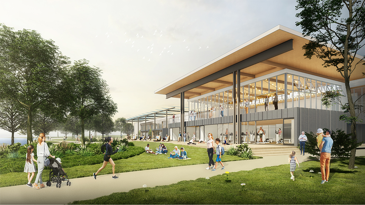 Design rendering showing people using the west-facing activity spaces and community porch.