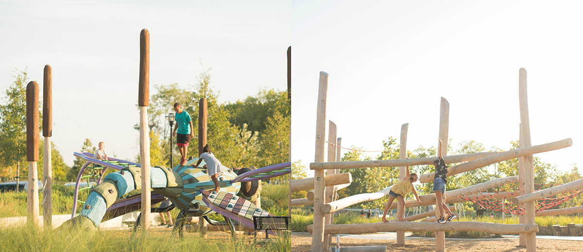 Image montage showing a nature-themed playground.